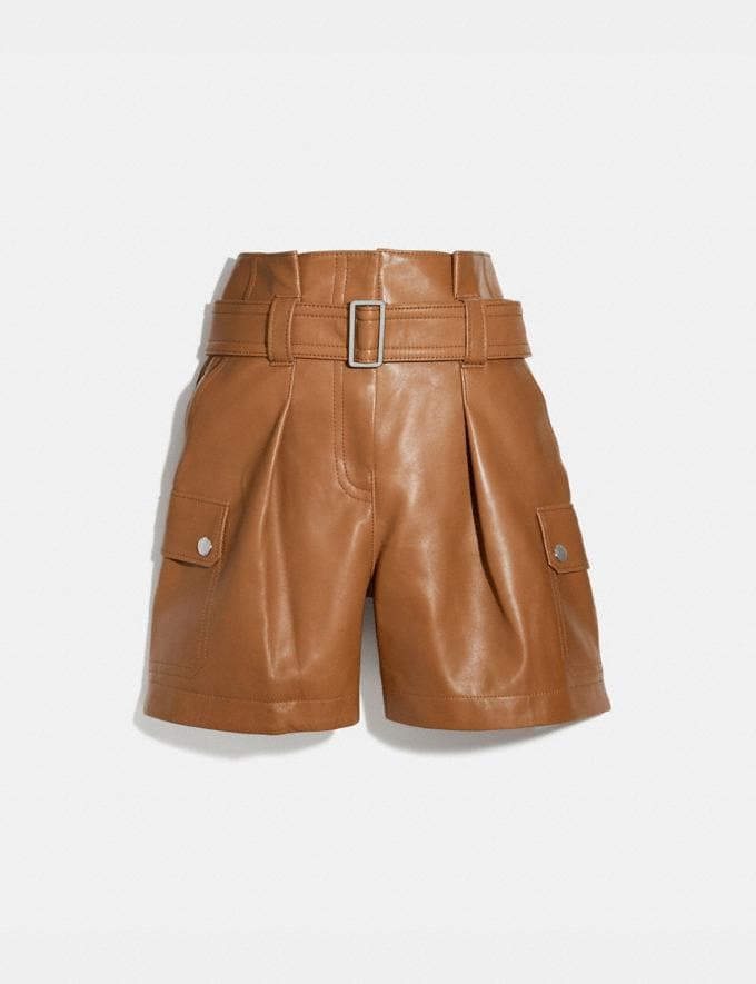 Coach Leather Belted Shorts Penny Women Ready-to-Wear Bottoms