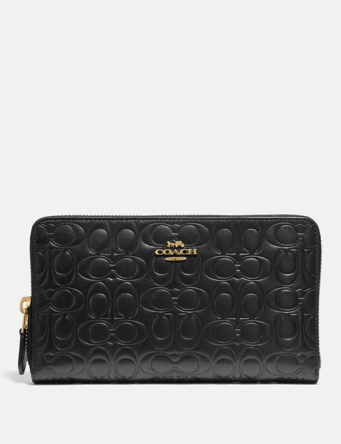 Coach Continental Wallet in Signature Leather Black/Gold Women Wallets & Wristlets Large Wallets
