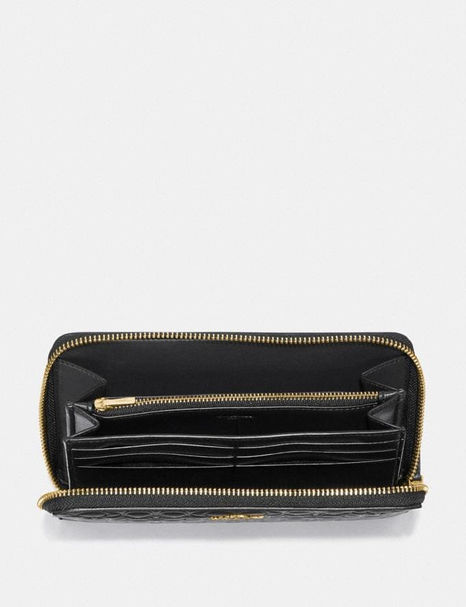 Coach Continental Wallet in Signature Leather Black/Gold Women Wallets & Wristlets Large Wallets Alternate View 1