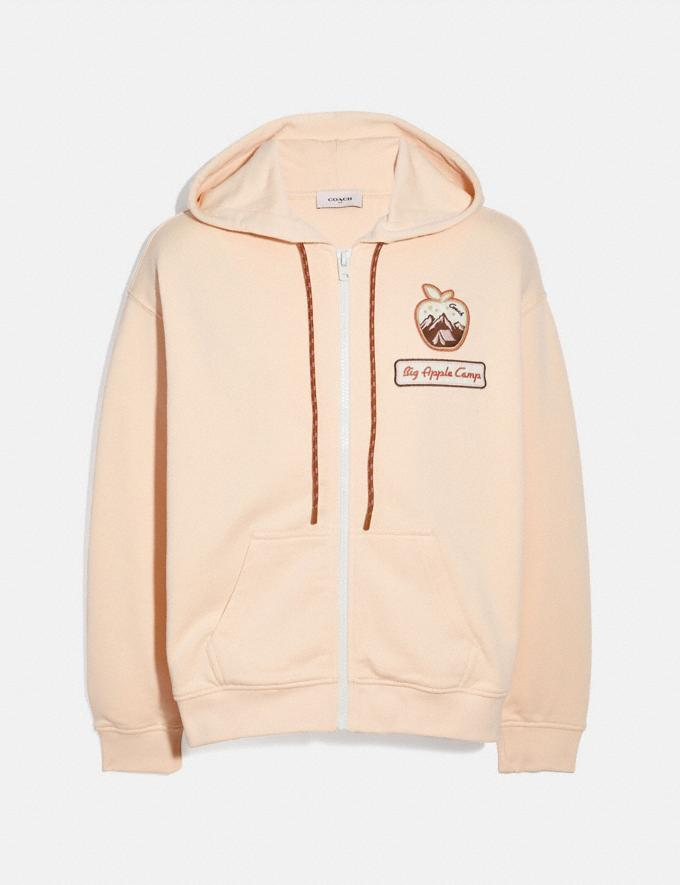 Coach Big Apple Camp Jersey Hoodie Ivory New Women's New Arrivals Ready-to-Wear