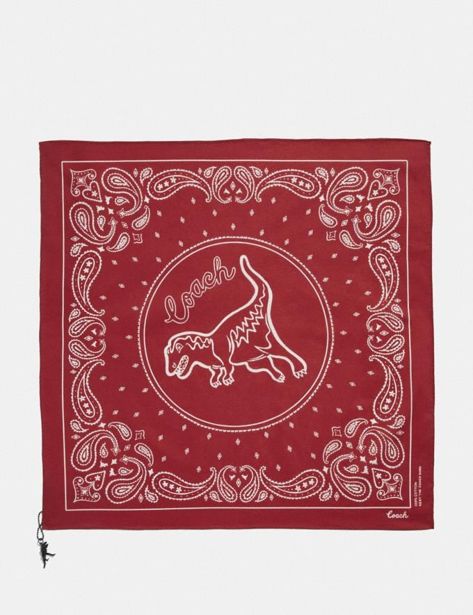 Coach Rexy Play Bandana Rexy Red/Chalk Women Accessories Scarves