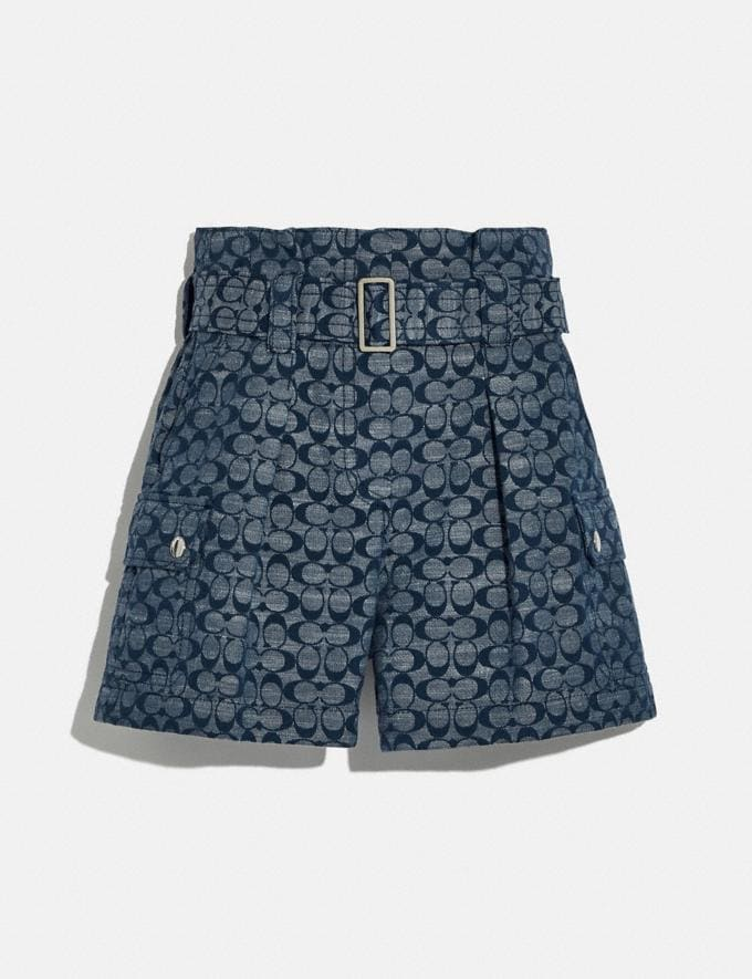 Coach Signature Belted Shorts Chambray New Women's New Arrivals