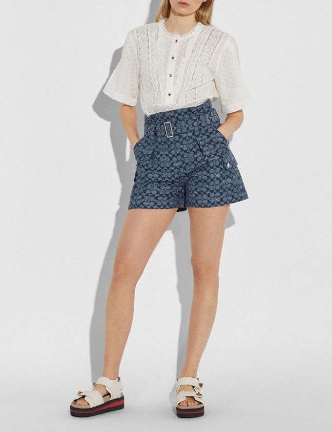 Coach Signature Belted Shorts Chambray New Women's New Arrivals Alternate View 1