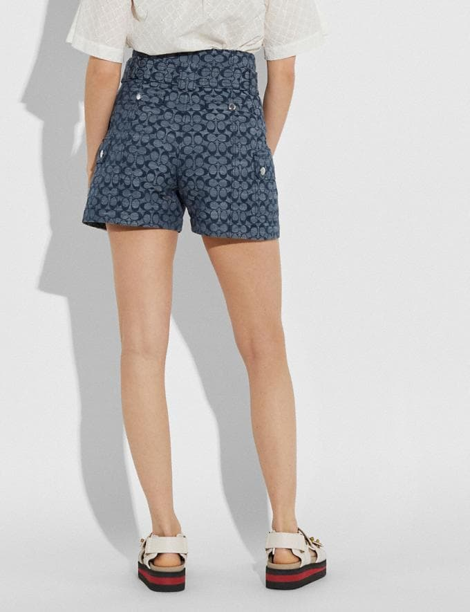 Coach Signature Belted Shorts Chambray New Women's New Arrivals Alternate View 2