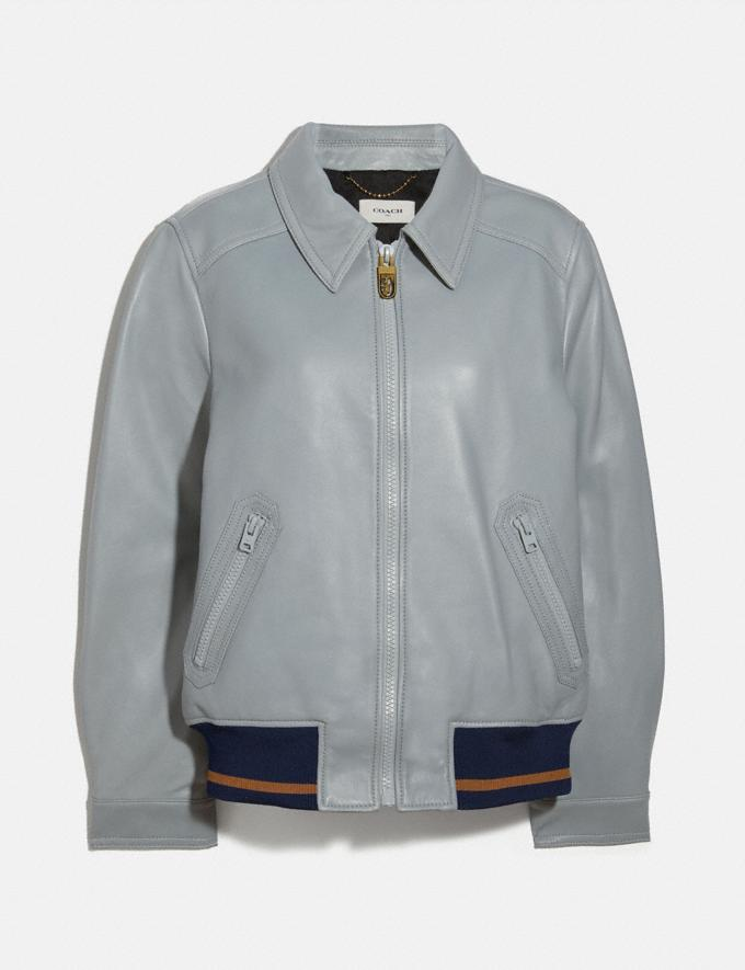 Coach Leather Blouson Jacket With Rib Blue