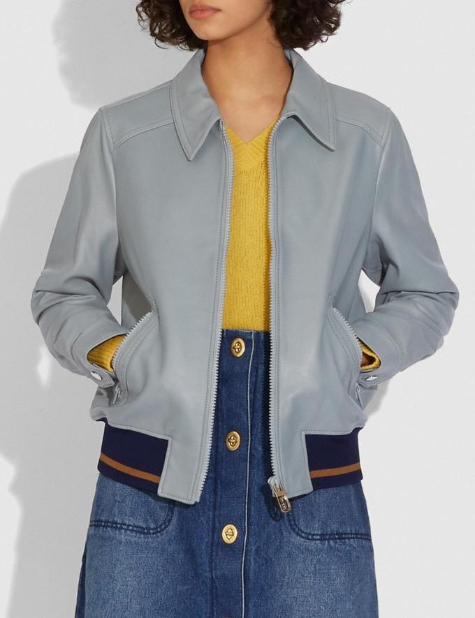 Coach Leather Blouson Jacket With Rib Blue  Alternate View 1
