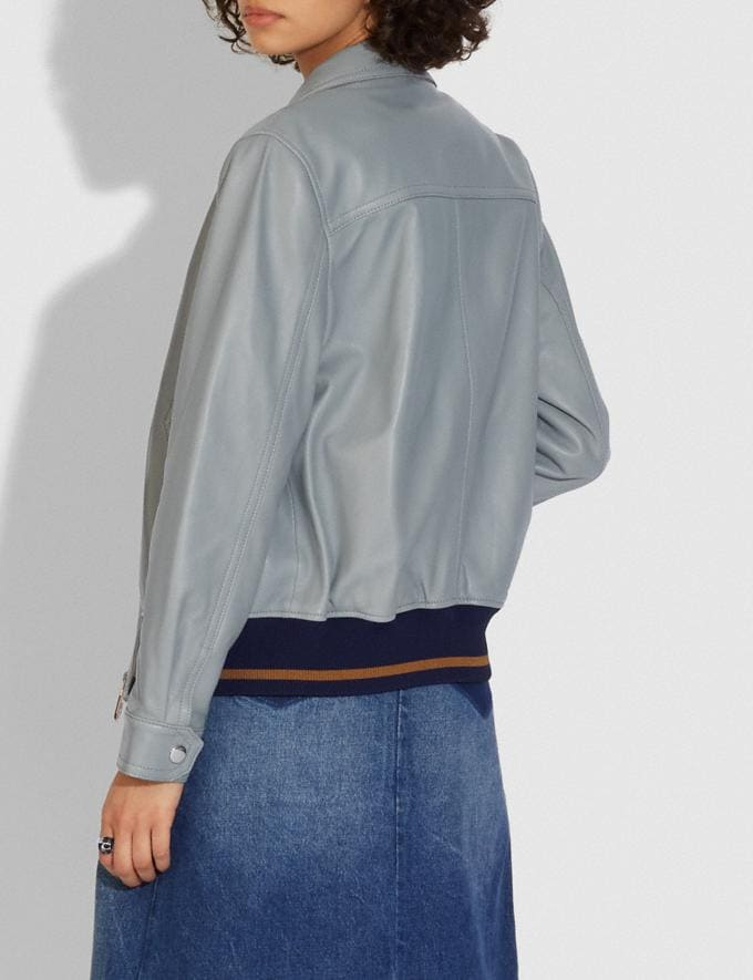 Coach Leather Blouson Jacket With Rib Blue  Alternate View 2