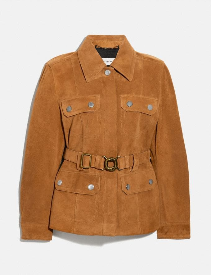 Coach Suede Belted Heritage Jacket Penny Women Ready-to-Wear Jackets & Outerwear