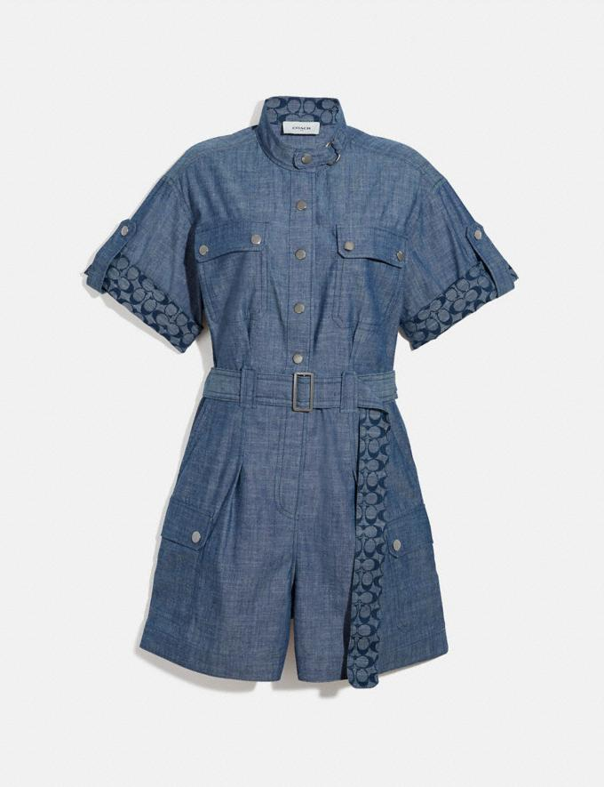 Coach Belted Romper Chambray Women Ready-to-Wear Dresses