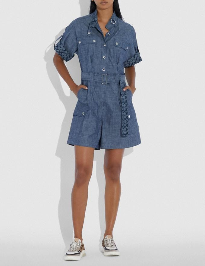 Coach Belted Romper Chambray Women Ready-to-Wear Dresses Alternate View 1