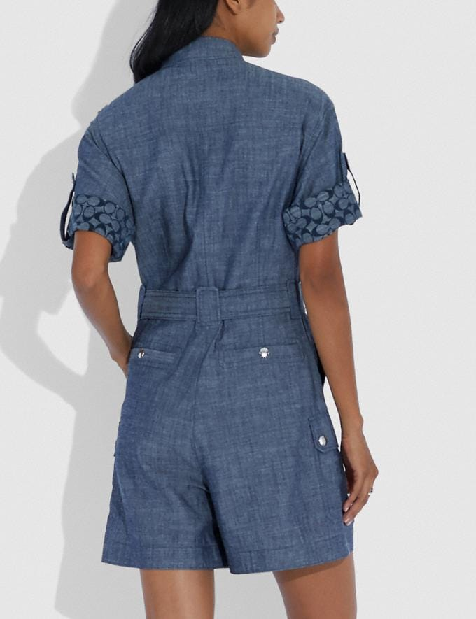 Coach Belted Romper Chambray Women Ready-to-Wear Dresses Alternate View 2