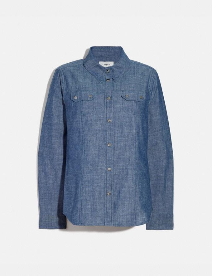 Coach Chambray Shirt Chambray Women Ready-to-Wear Tops & T-shirts