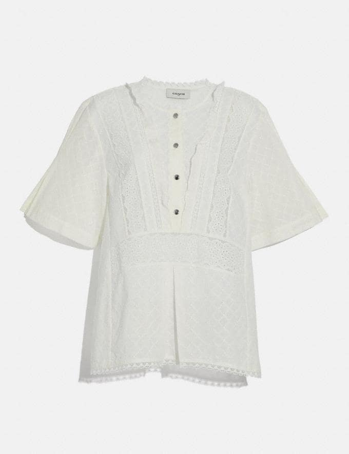 Coach Broderie Anglaise Top Cream New Women's New Arrivals Ready-to-Wear