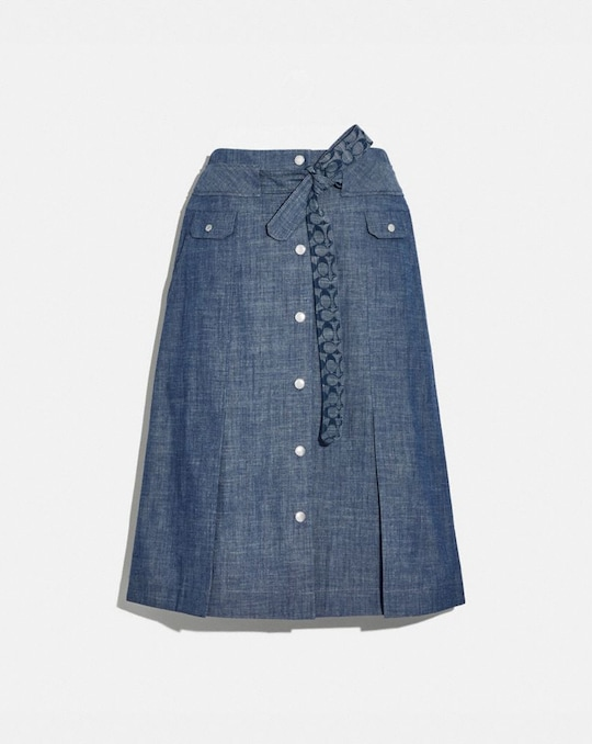 CHAMBRAY TIE WAIST MIDI SKIRT