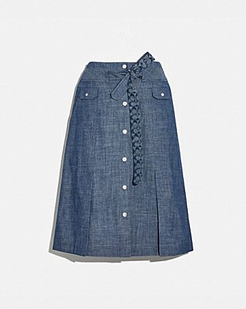 chambray tie waist midi skirt