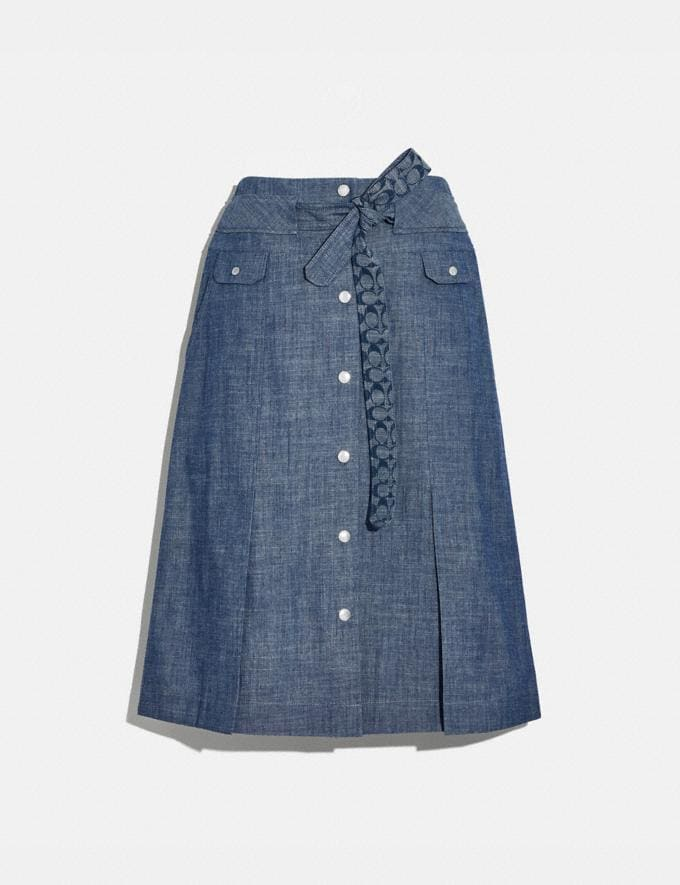 Coach Chambray Tie Waist Midi Skirt Chambray Women Ready-to-Wear Bottoms