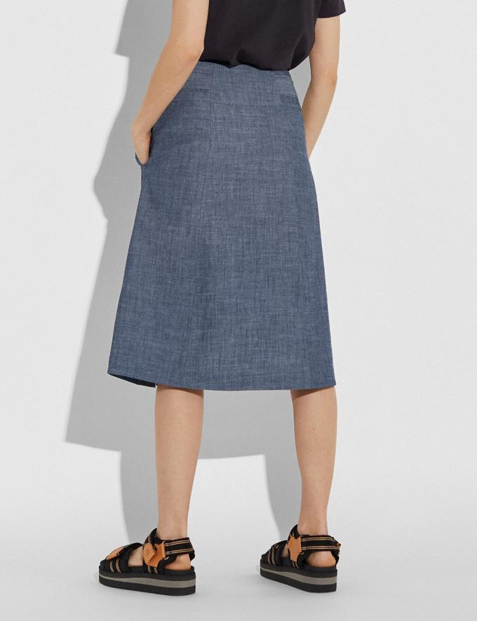 Coach Chambray Tie Waist Midi Skirt Chambray Women Ready-to-Wear Bottoms Alternate View 2
