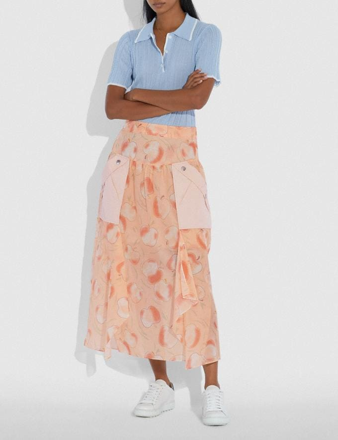 Coach Long Draped Skirt With Pockets Peach Women Ready-to-Wear Bottoms Alternate View 1