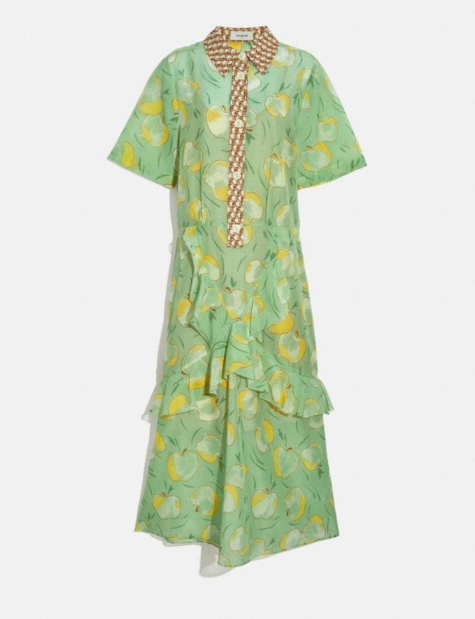 Coach Apple Print Long Ruffle Shirt Dress Mint/Yellow Women Ready-to-Wear