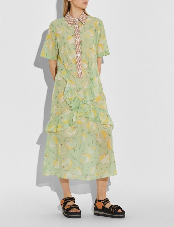 Coach Apple Print Long Ruffle Shirt Dress Mint/Yellow Women Ready-to-Wear Alternate View 1