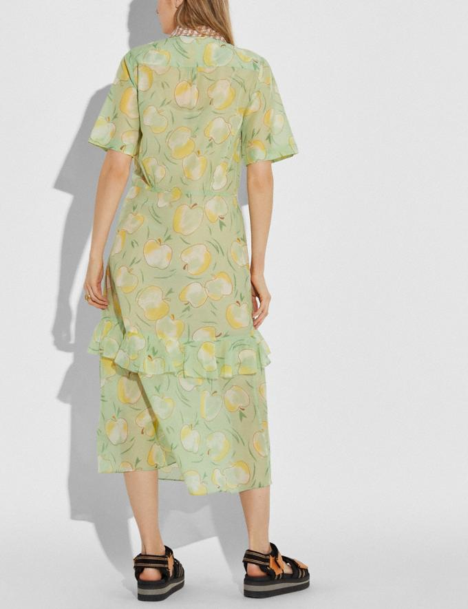 Coach Apple Print Long Ruffle Shirt Dress Mint/Yellow Women Ready-to-Wear Alternate View 2