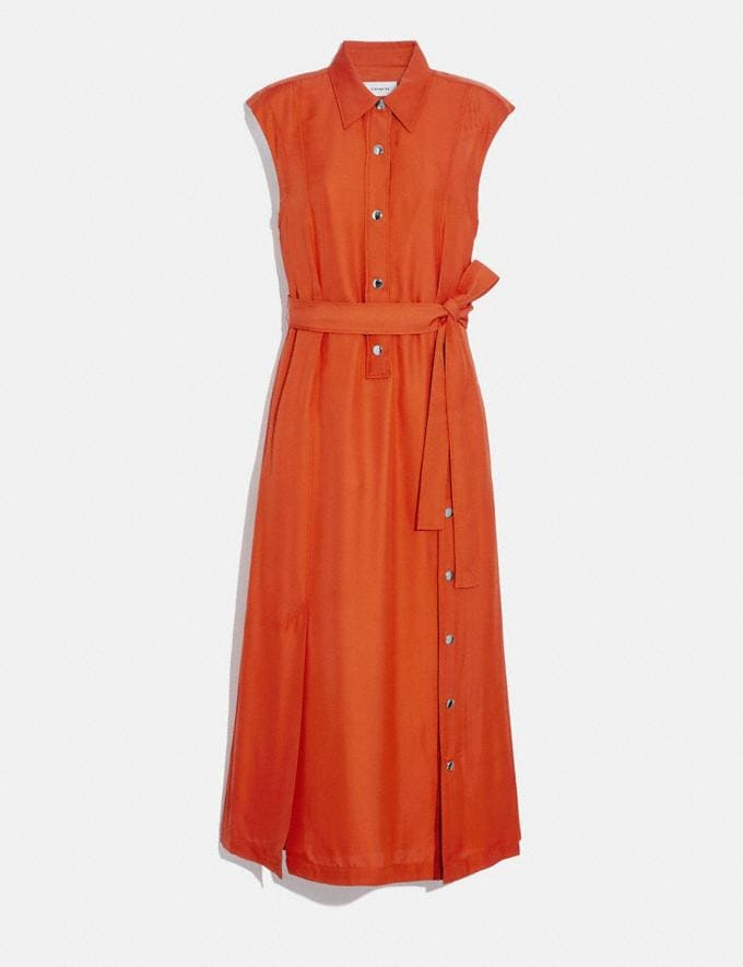 Coach Long Shirt Dress With Side Slit Tangerine Women Ready-to-Wear Dresses