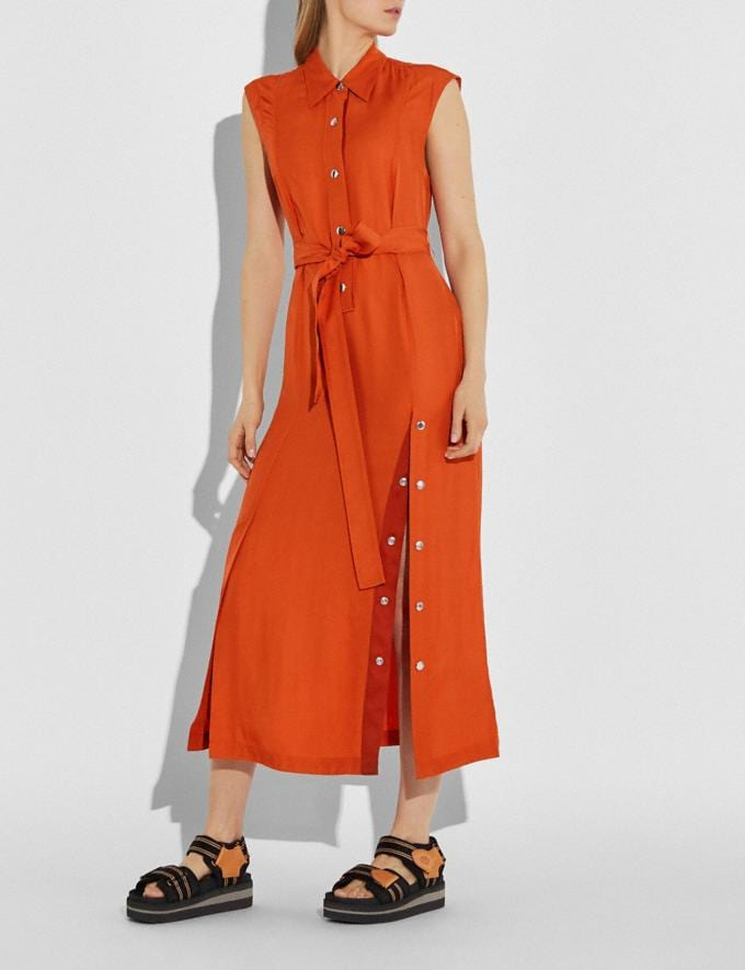 Coach Long Shirt Dress With Side Slit Tangerine Women Ready-to-Wear Dresses Alternate View 1