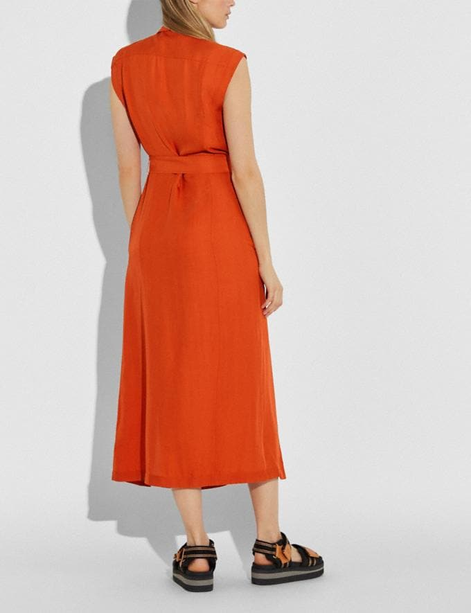 Coach Long Shirt Dress With Side Slit Tangerine Women Ready-to-Wear Dresses Alternate View 2