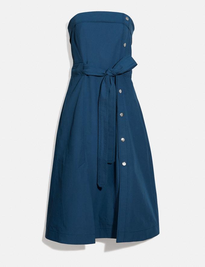 Coach Tie Waist Midi Dress With Side Snaps Navy Women Ready-to-Wear Dresses