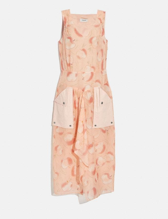 Coach Apple Print Long Dress With Snap Pockets Peach Women Ready-to-Wear Dresses