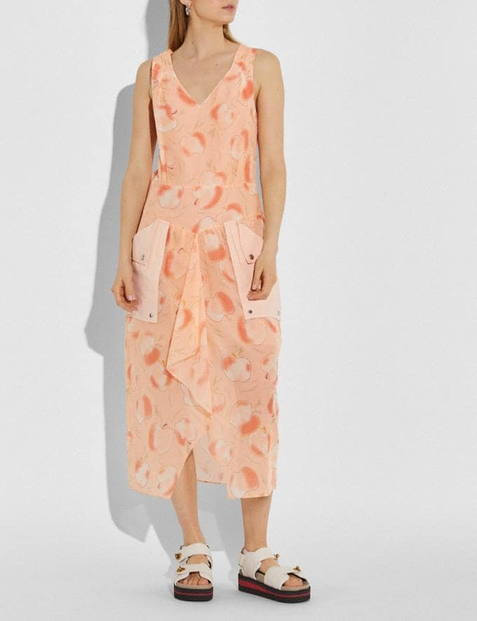 Coach Apple Print Long Dress With Snap Pockets Peach Women Ready-to-Wear Alternate View 1