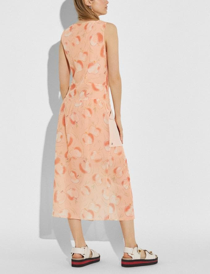 Coach Apple Print Long Dress With Snap Pockets Peach Women Ready-to-Wear Dresses Alternate View 2