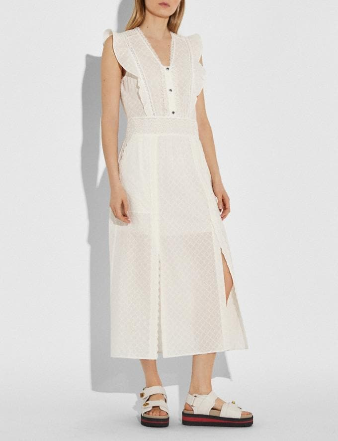 Coach Broderie Anglaise Maxi Dress Cream Women Ready-to-Wear Dresses Alternate View 1