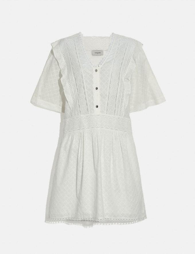 Coach Broderie Anglaise Mini Dress Cream Women Ready-to-Wear Dresses