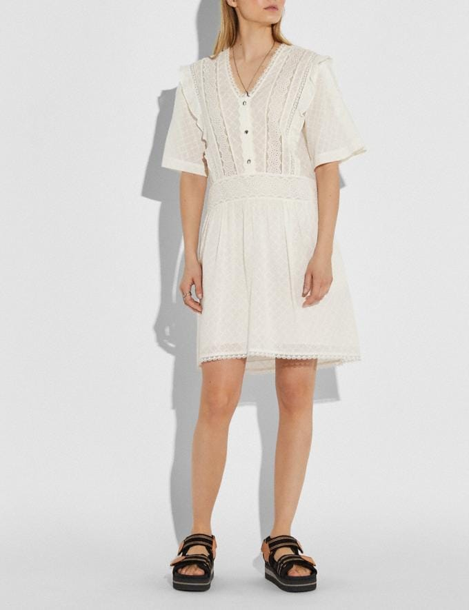 Coach Broderie Anglaise Mini Dress Cream Women Ready-to-Wear Dresses Alternate View 1