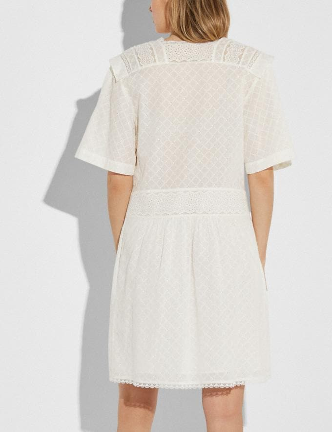Coach Broderie Anglaise Mini Dress Cream Women Ready-to-Wear Dresses Alternate View 2