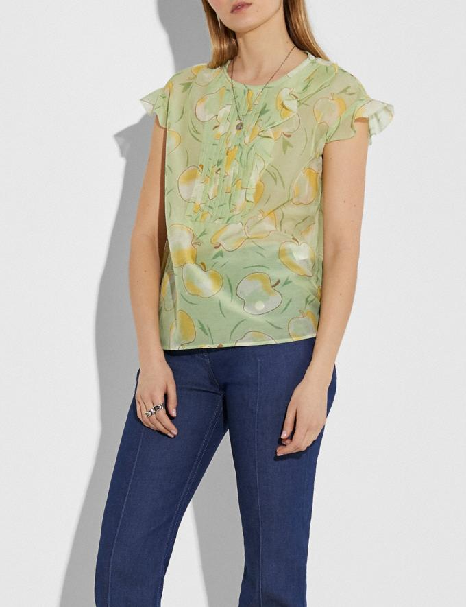 Coach Apple Print Ruffle Blouse Mint/Yellow Women Ready-to-Wear Tops & T-shirts Alternate View 1