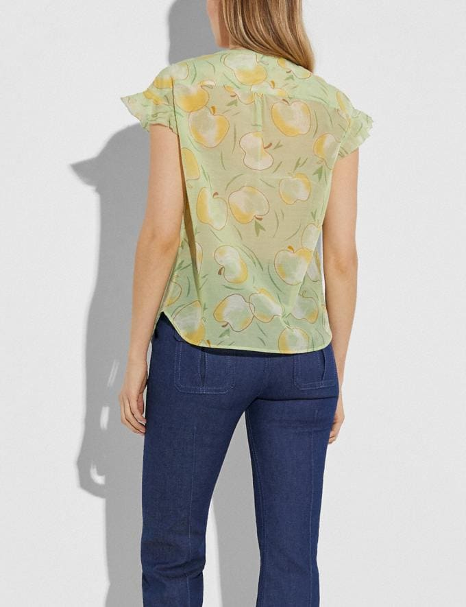 Coach Apple Print Ruffle Blouse Mint/Yellow Women Ready-to-Wear Tops & T-shirts Alternate View 2