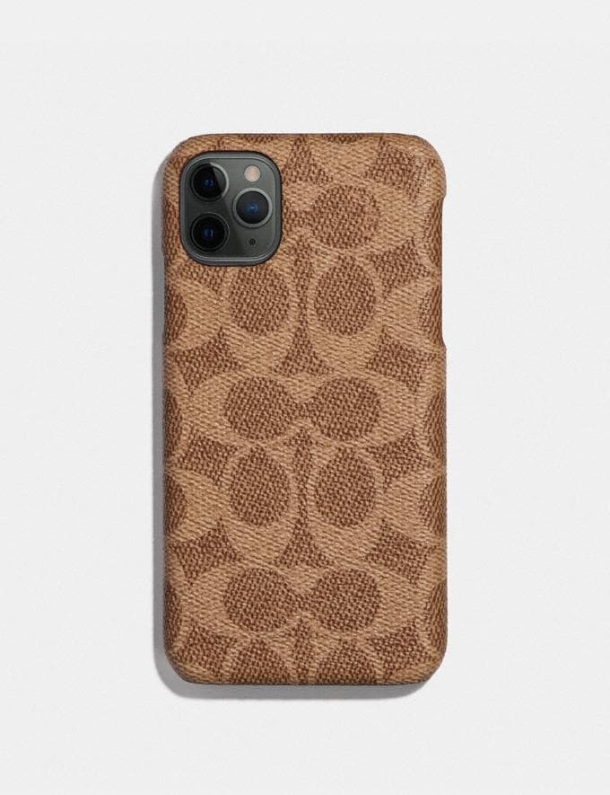 Coach iPhone 11 Pro Case in Signature Canvas Tan Women Accessories Tech & Work