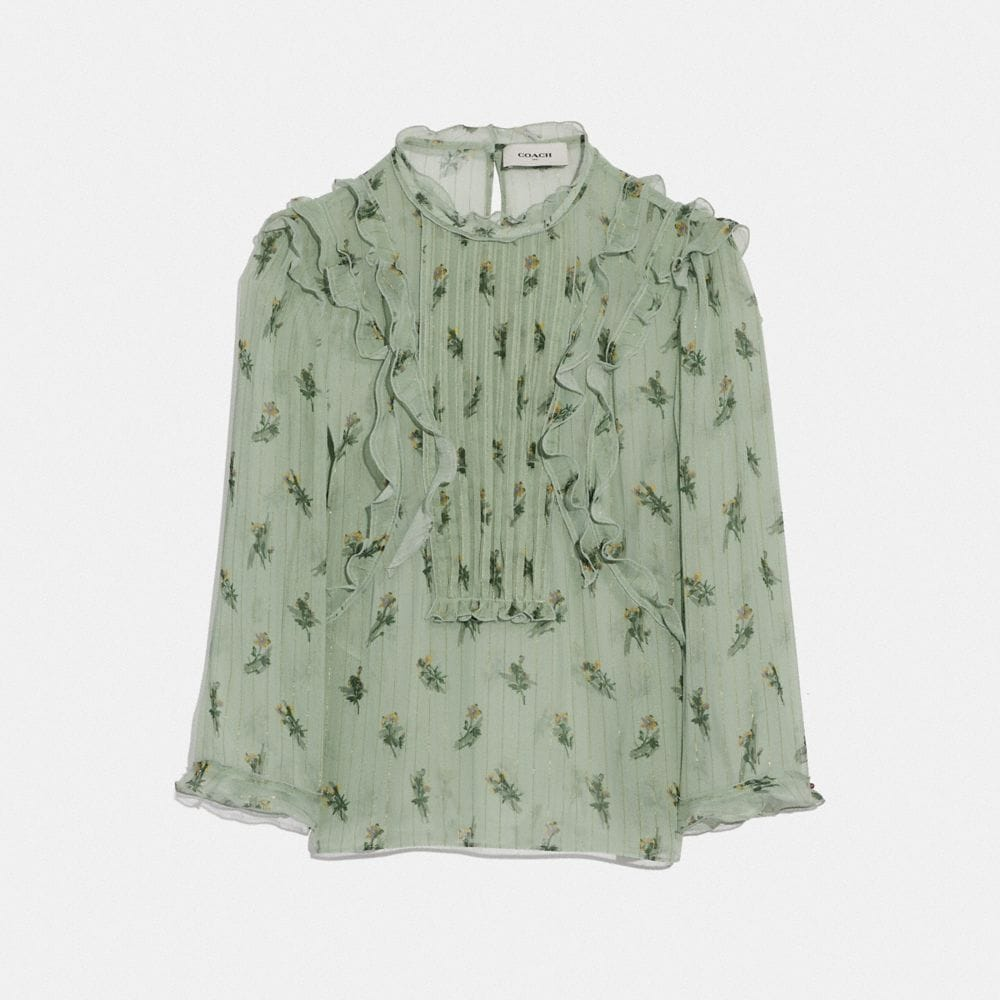 scribble floral print ruffle top