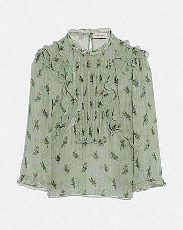 SCRIBBLE FLORAL PRINT RUFFLE TOP