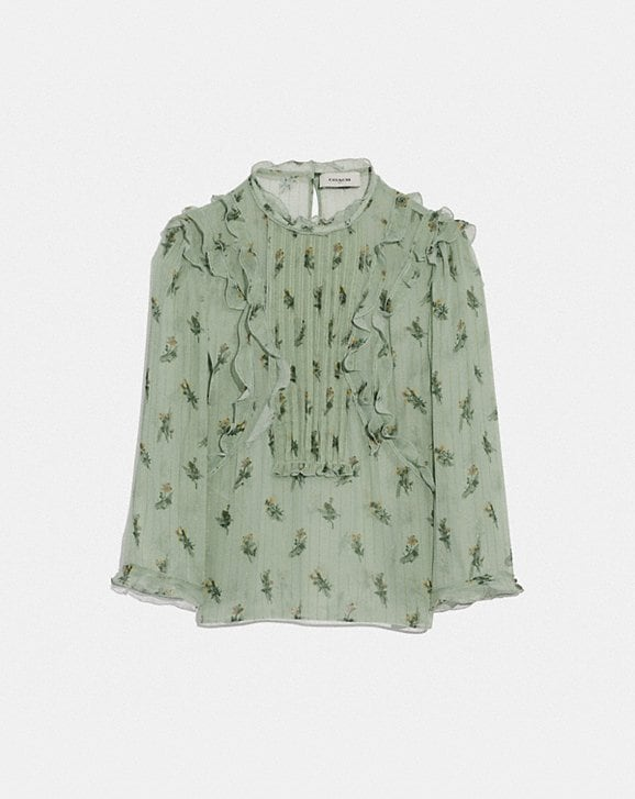 Coach SCRIBBLE FLORAL PRINT RUFFLE TOP