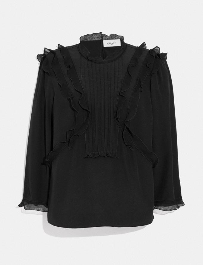 Coach Ruffle Top Black SALE Women's Sale Ready-to-Wear