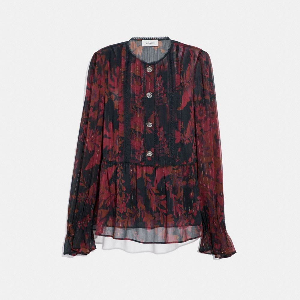 Coach Forest Floral Print Tea Rose Blouse Women S In Dark Red
