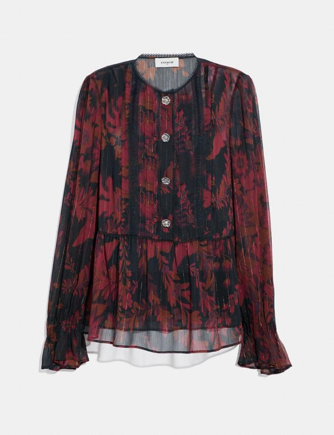 Coach Forest Floral Print Tea Rose Blouse Dark Red SALE Women's Sale Ready-to-Wear