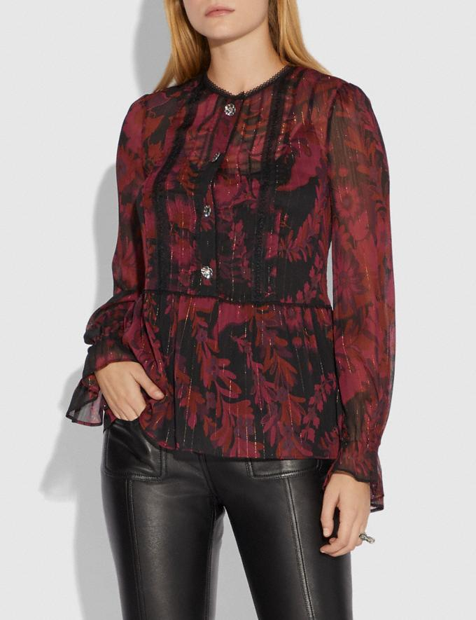 Coach Forest Floral Print Tea Rose Blouse Dark Red SALE Women's Sale Ready-to-Wear Alternate View 1