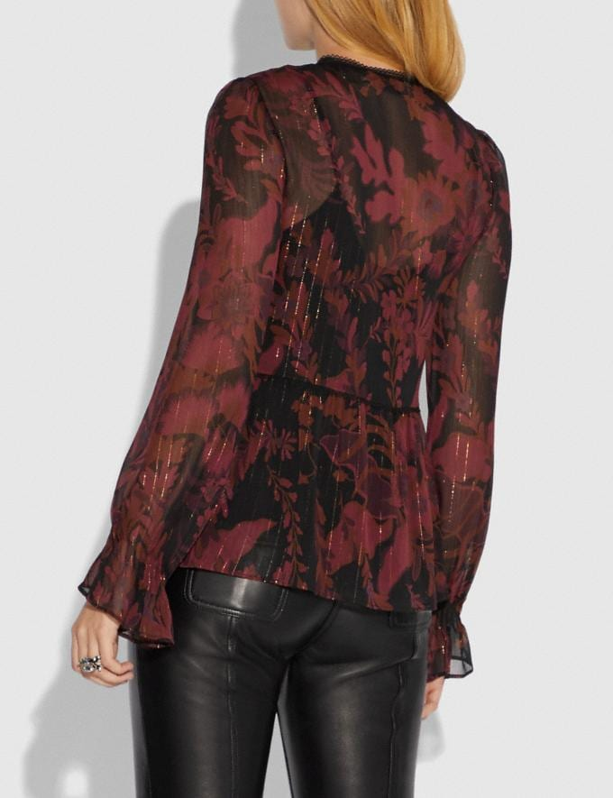 Coach Forest Floral Print Tea Rose Blouse Dark Red SALE Women's Sale Ready-to-Wear Alternate View 2