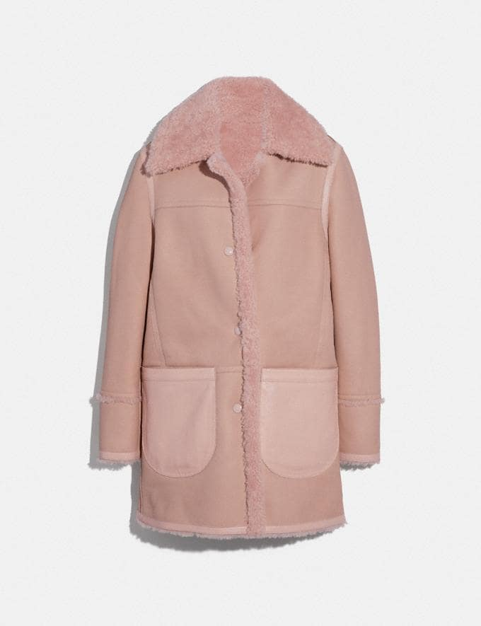 Coach Reversible Shearling Coat Powder Pink