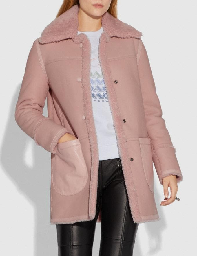 Coach Reversible Shearling Coat Powder Pink  Alternate View 1