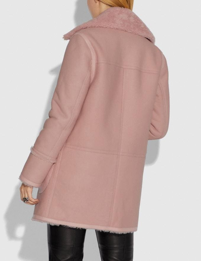 Coach Reversible Shearling Coat Powder Pink  Alternate View 2